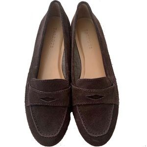 Brown suede loafer flats Talbots
